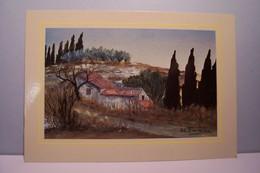 LES  ALPILLES    --- Gouache De   Tombereau  Michel - ( Pas De Reflet Sur L'original ) - Malerei & Gemälde