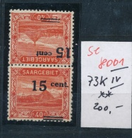 Saar  Nr. 73 K IV ** (s8001  ) Siehe Bild  !! - 1920-35 Saargebiet – Abstimmungsgebiet