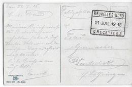 BELGIQUE - 1915 - CARTE FELDPOST ALLEMANDE Avec OBLITERATION RECETTES BRUXELLES NORD => AUDUN LE TICHE (MOSELLE) - Postmark Collection
