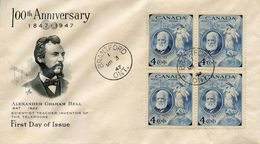 CANADA  - 1947 The 100th Anniversary Of The Birth Of Graham Bell, 1847-1922   FDC2115 - Premiers Jours (FDC)