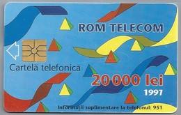 RO.- Telefoonkaart. ROM TELECOM. Cartela Telefonica. 20 000 Lei 1997. In Contact Cu Lumea Prin. Roemenië. 2 Scans. - Romania