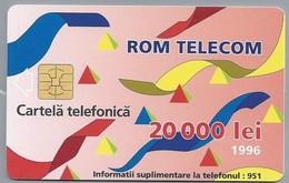 RO.- Telefoonkaart. ROM TELECOM. Cartela Telefonica. 20 000 Lei 1996. In Contact Cu Lumea Prin. Roemenië. 2 Scans. - Romania