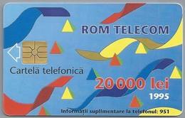 RO.- Telefoonkaart. ROM TELECOM. Cartela Telefonica. 20 000 Lei 1995. In Contact Cu Lumea Prin. Roemenië. 2 Scans. - Romania