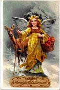 CPA Ange Angel Anges Gaufré Circulé Noël Pommes Biche - Engel