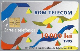 RO.- Telefoonkaart. ROM TELECOM. Cartela Telefonica. 10 000 Lei 1995. In Contact Cu Lumea Prin. Roemenië. 2 Scans. - Romania