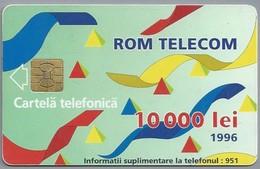 RO.- Telefoonkaart. ROM TELECOM. Cartela Telefonica. 10 000 Lei 1996. In Contact Cu Lumea Prin. Roemenië. 2 Scans. - Romania