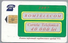RO.- Telefoonkaart. ROM TELECOM. Cartela Telefonica. 40 000 Lei 1997. Reclama Pe Cartela Sigura Si Directa ! Roemenië. 2 - Romania