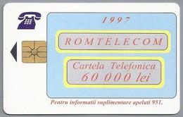 RO.- Telefoonkaart. ROM TELECOM. Cartela Telefonica. 60 000 Lei 1997. Reclama Pe Cartela Sigura Si Directa ! Roemenië. 2 - Romania