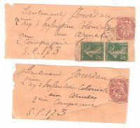 Guerre 2 Bandes Journaux Type Blanc 2 C + Paire Semeuse 137 Papier GC Obl CABOURG > Lt Jourdan 2 E Infanterie Col SP 173 - WW I