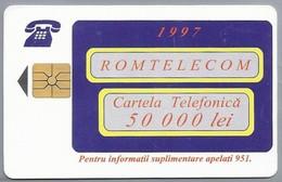 RO.- Telefoonkaart. ROM TELECOM. Cartela Telefonica. 50 000 Lei 1997. Reclama Pe Cartela Sigura Si Directa ! Roemenië. 2 - Romania