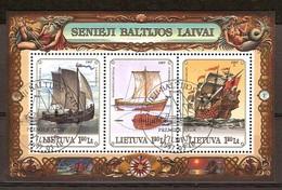 Lituanie Litouwen Lietuva 1997 Yvertn° Bloc 12 (°) Oblitéré Used Cote 3,00 Euro Bateaux Boten Ships - Lituanie