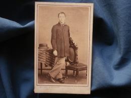 CDV Photo Quesnel Et Gosselin à Flers De L'Orne - Jeune Homme En Pied (auguste Corbière), Second Empire Circa 1865 L343 - Ancianas (antes De 1900)