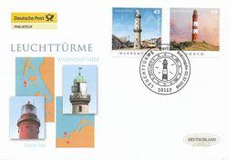 2008  Deutschland Allem. Fed. Mi.2677-8 FDC.  Leuchttürme : Warnemünde /  Amrum - BRD