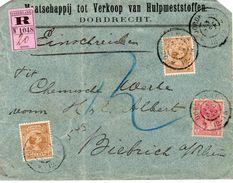 13 DEC 99 Aangetekende Firmabrief Van Dordrecht Naar Biebrich Met Mengfrankering H.H. 2x NVPH 39 En NVPH Bontkraag 60 - Periode 1891-1948 (Wilhelmina)