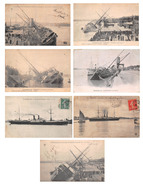 Lot De 7 CPA - Bordeaux (33) - Série Échouement Du Chili - Accident Paquebot Bateau 1903 - Bordeaux