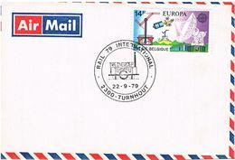 Belgien Brief Michel 1483 (CEPT) Und Sonderstempel - Eisenbahn, Kommunikation, Satellit, Railway, Spoorweg, Satellite - Belgien