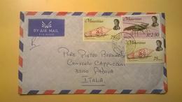 BUSTA AEREA MAURITIUS DESTINATA IN ITALIA RARE AFFRANCATURE 1969 VITA MARINA AIR MAIL RACCOMANDATA - Mauritius (1968-...)