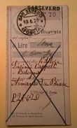 VAGLIA POSTALE RICEVUTA SAN SEVERO FOGGIA 1920 - 1900-44 Victor Emmanuel III.