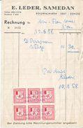 STAATS-TAXE  GRISON SUR FACTURE DE SAMEDAN - 1958 - Erinnophilie