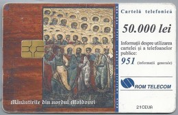 RO.- Telefoonkaart. ROM TELECOM. Cartela Telefonica. 50.000 Lei. Manastirile Din Nordul Moldovei. Roemenië. 2 Scans - Romania