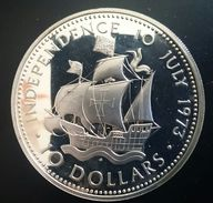 "BAHAMAS 10 DOLLARS 1973 SILVER PROOF ""Independence Day - July 10"" (free Shipping Via Registered Air Mail) - Bahamas"