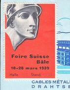 FOIRE SUISSE BÂLE 1939 SUR FACTURE - CORDERIE NATIONALE  DELACROIXRICHE & CIE  - 1939 - Erinnophilie