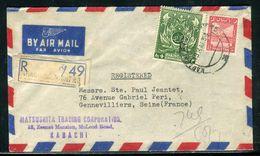 Pakistan - Enveloppe Commerciale En Recommandé De Karachi Pour La France En 1954 - Ref D288 - Pakistan