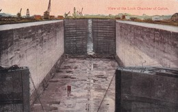 VIEW OF THE LOCK CHAMBER OF GATUN. PANAMA CANAL LOCKS. ESCLUSAS DEL CANAL DE PANAMA CIRCA 1920s -BLEUP - Panama