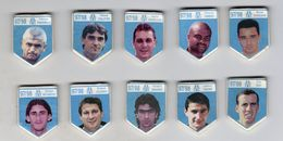 Série 10 Fèves Biscuit émaillé  MOULIN A HUILE - JOUEURS DE FOOT OM  97/98 Olympique Marseille - FOOTBALL - Sport