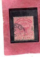 TRINIDAD 1883 1884  QUEEN VICTORIA REGINA VITTORIA ONE PENNY 1p USATO USED OBLITERE' - Trinidad & Tobago (...-1961)