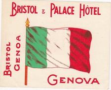 ITALY ITALIA   -  HOTEL LUGAGGE  LABEL - BRISTOL & PALACE HOTEL - GENOVA - Hotel Labels