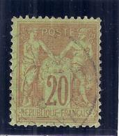 Type Sage Type II   N°96 - 20 Cts Brique Sur Vert - Côte 8€ - 1876-1898 Sage (Tipo II)