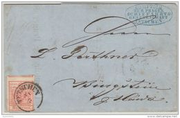 25964  Austria 1850 3 Kr From TETSCHEN On 1855 Entire From Comptoir Der Prager Schiffahrtsgesellschat Tetschen - 1850-1918 Empire
