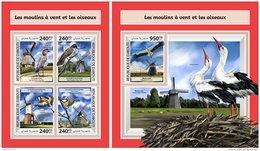 DJIBOUTI 2017 ** Wind Mills Windmühlen Moulins A Vent Birds M/S+S/S - OFFICIAL ISSUE - DH1746 - Mühlen