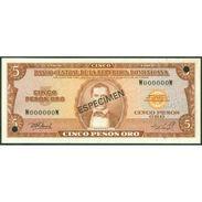 TWN - DOMINICAN REPUBLIC 109b-s - 5 Pesos Oro 1976 Especimen Punch Hole Canceled W 000000 W UNC - Repubblica Dominicana
