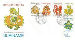 Surinam Suriname 1980 Paramaribo Fairy Tale Anansi And His Creditors Caracters FDC Cover - Verhalen, Fabels En Legenden