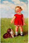 CPA Chien Dog Teckel Dackel Dachshund écrite Chat Cat - Dogs