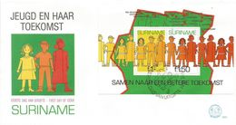 Surinam Suriname 1973 Paramaribo Children And Their Future Map Cartography FDC Cover - Kindertijd & Jeugd