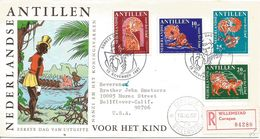 Netherlands Antilles 1967 Curacao Fairy Tale Nanzi The Spider And The Tiger Children Registered FDC Cover - Contes, Fables & Légendes