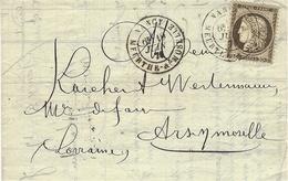 1876- Lettre De NANCY ( Meurthe Et Moselle ) Cad T18 Affr. N° 56 Seul Pour Ars Sur Moselle - Postmark Collection (Covers)
