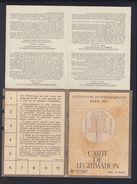 France Exposition Internationale 1937 Carte De Legitimation - Eintrittskarten