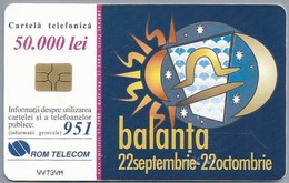 RO.- Telefoonkaart. ROM TELECOM. Cartela Telefonica. 50.000 Lei. - Balanta - Weegschaal. Roemenië. 2 Scans - Zodiaco