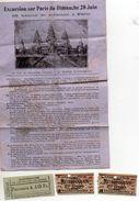 Souvenir Excursion Calais Paris 28 Juin Exposition Coloniale, 1 Ticket Electro-cars, 2 Tickets Métropolitain - Programmes