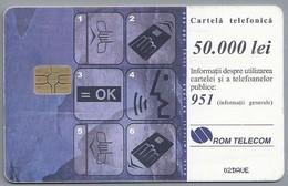 RO.- Telefoonkaart. ROM TELECOM. Cartela Telefonica. 50.000 Lei. - UTILIZAREA CARTELEI TELEFONICE. Roemenië. 2 Scans - Romania