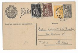 1926 - PORTUGAL - TRICOLORE - CARTE ENTIER De LISBOA => MILANO (ITALIA) - Ganzsachen