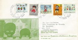 Netherlands Antilles 1963 Curacao Children Drawings FDC Cover To Venezuela - Kindertijd & Jeugd