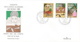 Netherlands Antilles 1983 Curacao Children Lizard Ants Donkey FDC Cover - Enfance & Jeunesse
