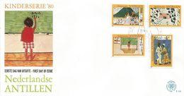 Netherlands Antilles 1980 Curacao Children Drawings School Education Customes Danse FDC Cover - Kindertijd & Jeugd