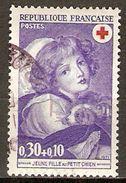 FRANCE   -   1971  .  Y&T N° 1700 Oblitéré Cachet Rond.   Croix-Rouge  /  Jeune Fille Au Petit Chien. - France