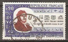 FRANCE   -   1972 .  Y&T N° 1734 Oblitéré  Cachet Rond .   Champollion  /  Egyptologie - France